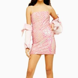 TOPSHOP pink sequin dress